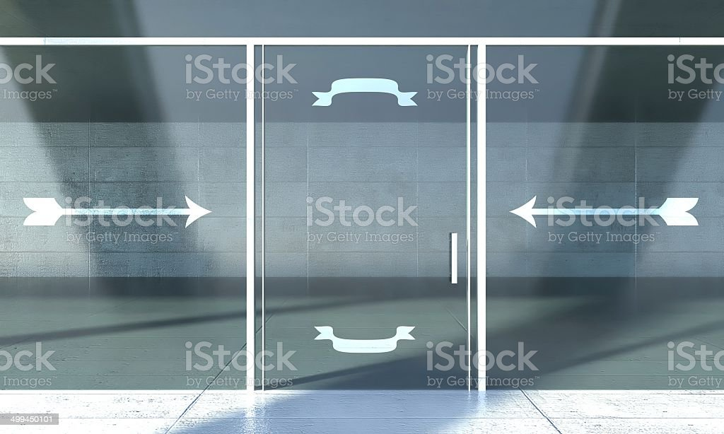 Shopfront door with inviting signs, empty space for text stock photo