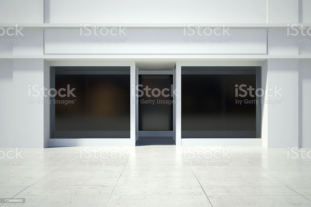 Shopfront window in modern building stock photo
