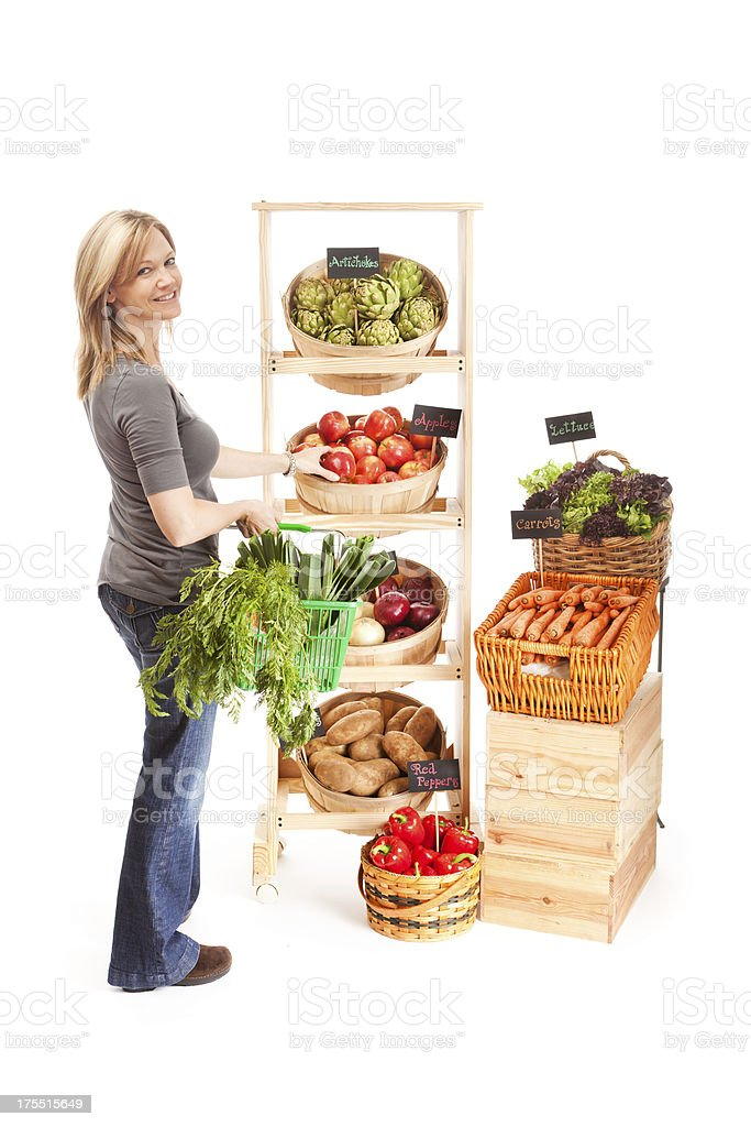 Shopper Customer in Grocery Store with Basket on White Background royalty-free stock photo
