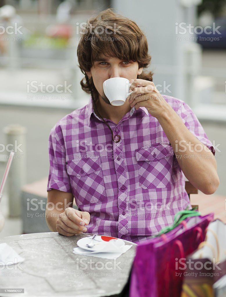 Shopper in cafe royalty-free stock photo