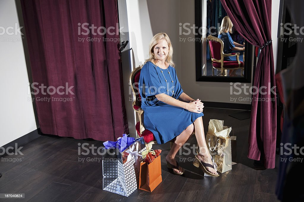 Shopper taking a break stock photo