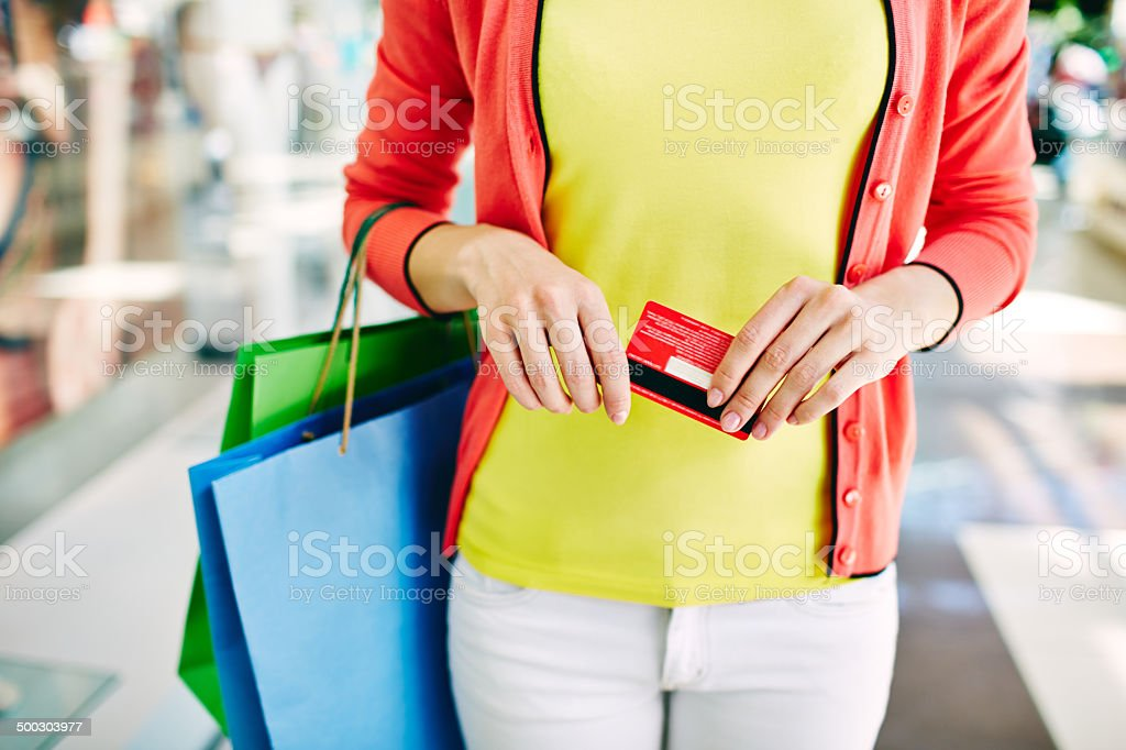 Shopper with discount stock photo