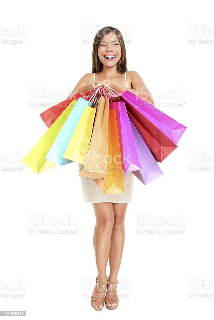 Shopper woman holding shopping bags royalty-free stock photo
