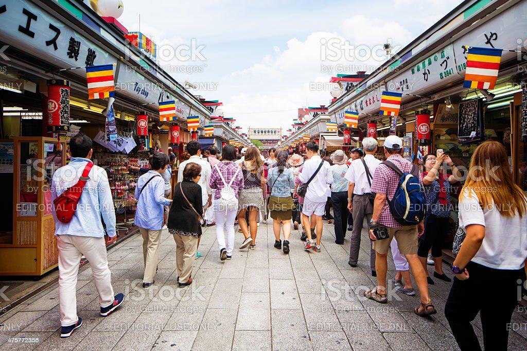 Shoppers and tourists walking on Asakusa Nakamise shopping street Tokyo stock photo