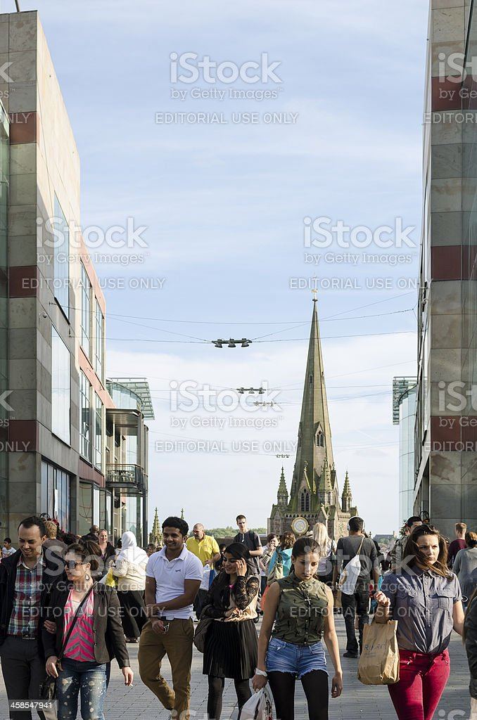 Shoppers in central Birmingham royalty-free stock photo