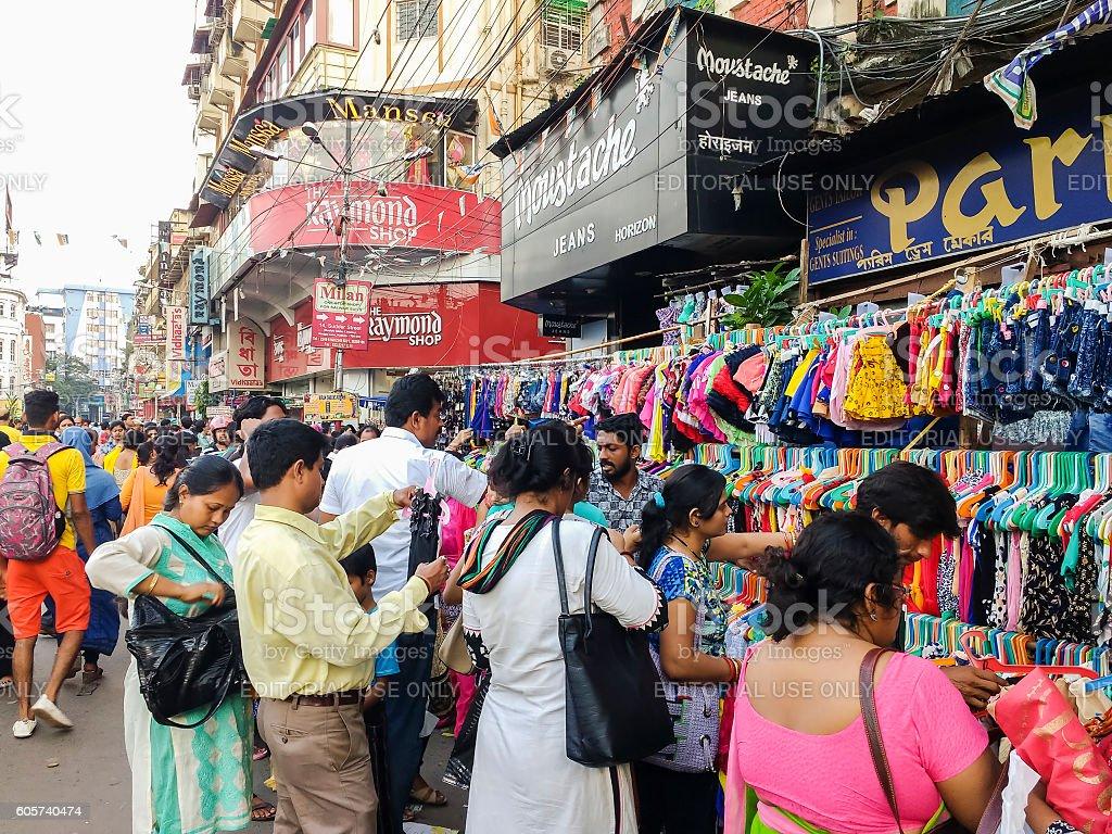 Shoppers in Kolkata street market, India stock photo