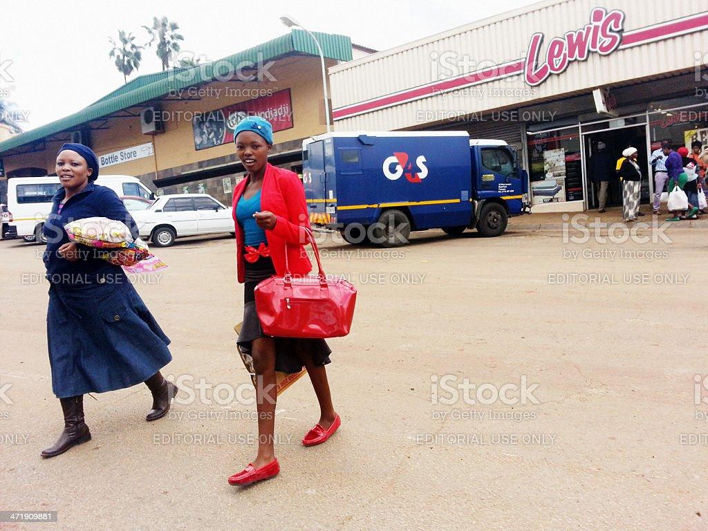 Shoppers in Modjadjiskloof, home of the legendary Rain Queen royalty-free stock photo