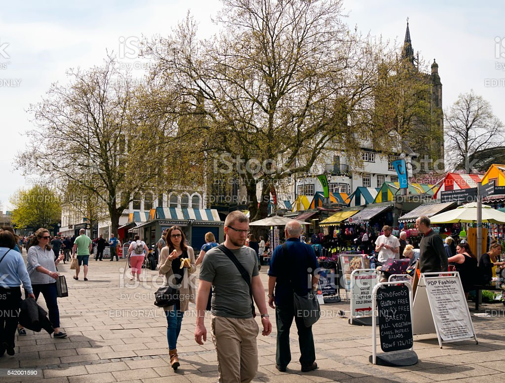 Shoppers in Norwich Market stock photo