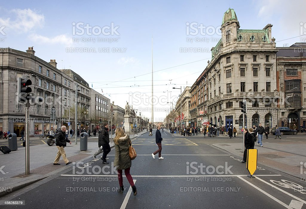 Shoppers in O'Connell Street Dublin City stock photo