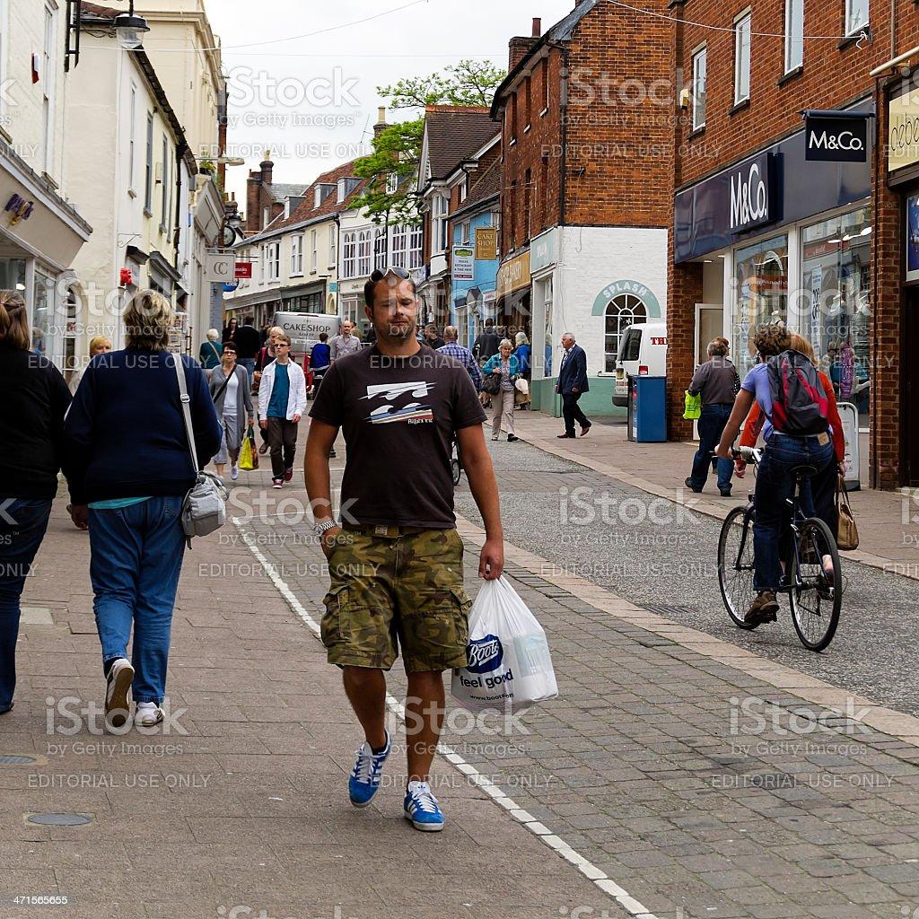 Shoppers in Thoroughfare, Woodbridge royalty-free stock photo