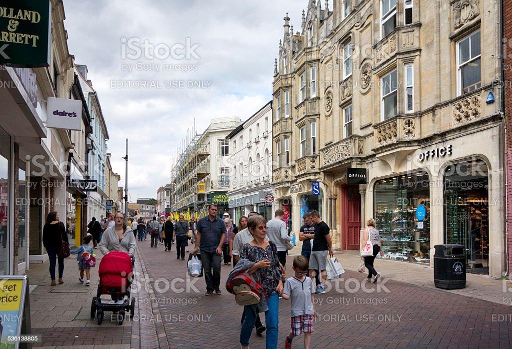 Shoppers in Westgate Street, Ipswich stock photo