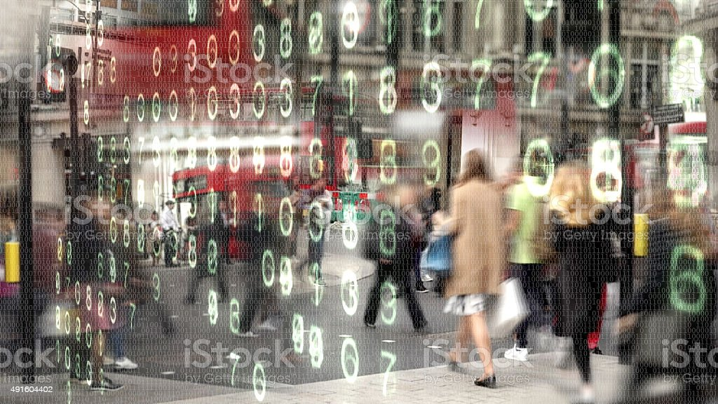Shoppers made from binary code. stock photo