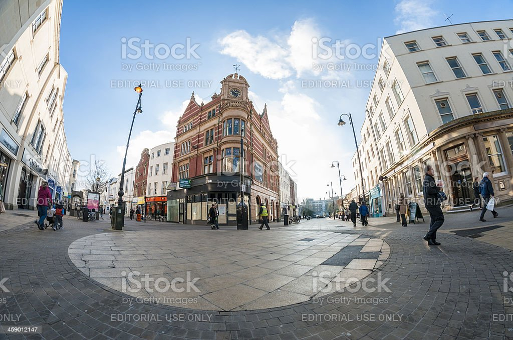 Shoppers On A Busy City Street royalty-free stock photo