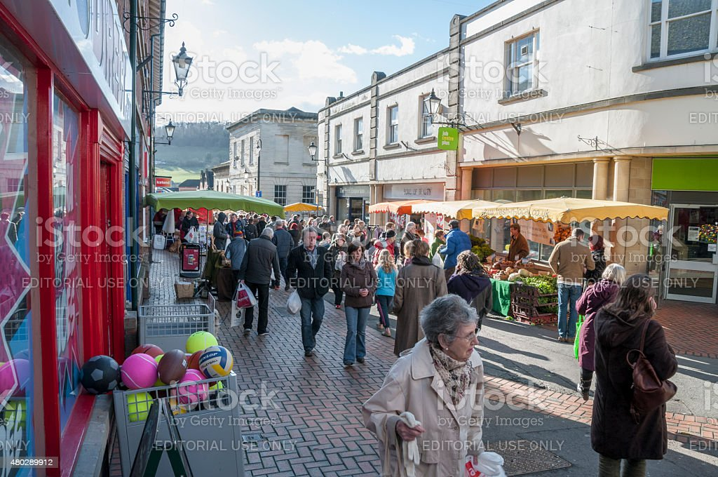 Shoppers On A Busy City Street stock photo