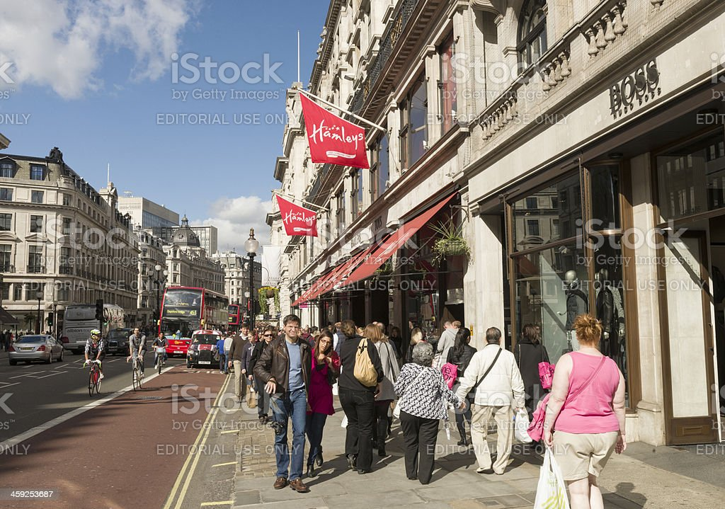 Shoppers on Regent Street in London royalty-free stock photo