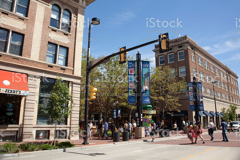 Shoppers walk on busy Pearl Street Mall Boulder Colorado stock photo