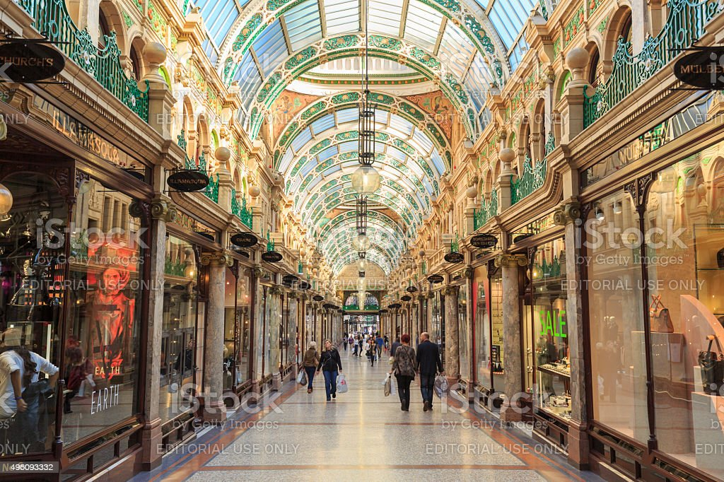 Shoppers walking through County Arcade in Leeds, West Yorkshire stock photo