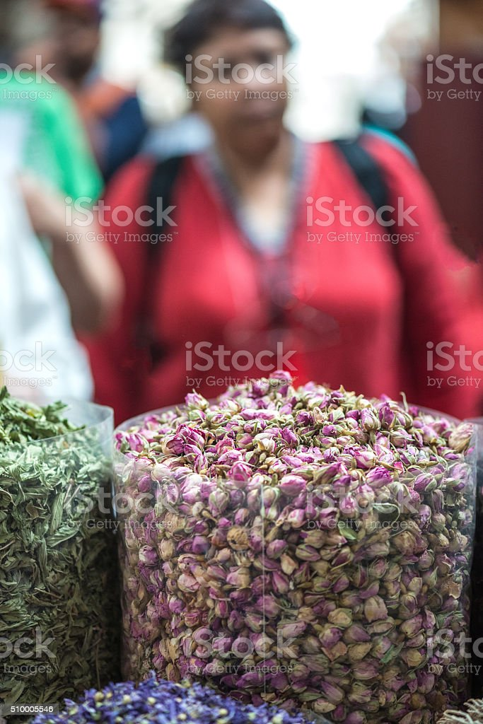 Shoppers Walking Through Textile and Spice Souk, Bur Dubai, UAE stock photo