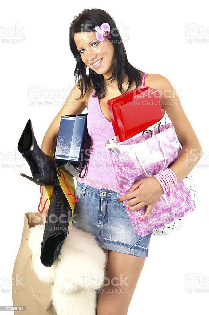 Shopping addict royalty-free stock photo