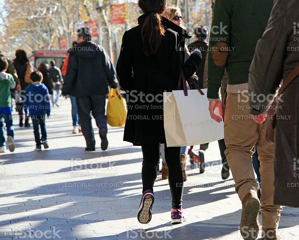 Shopping along Passeig de Gracia, Barcelona, Catalunia, Spain stock photo