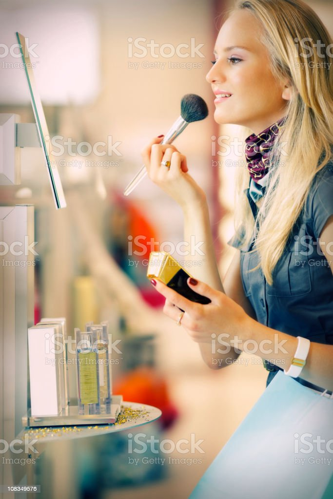 shopping and testing  cosmetics with pleasure stock photo