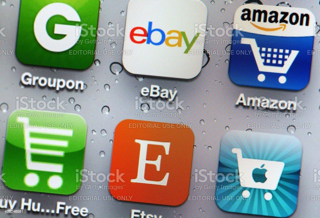 Shopping app on mobile stock photo