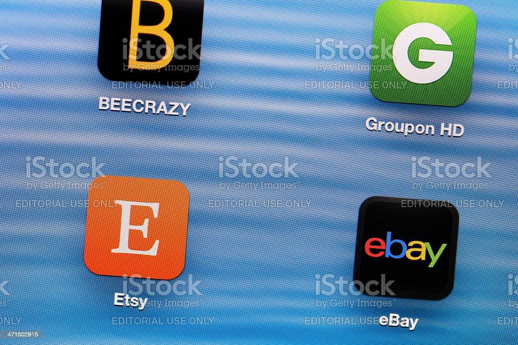 Shopping app on tablet stock photo