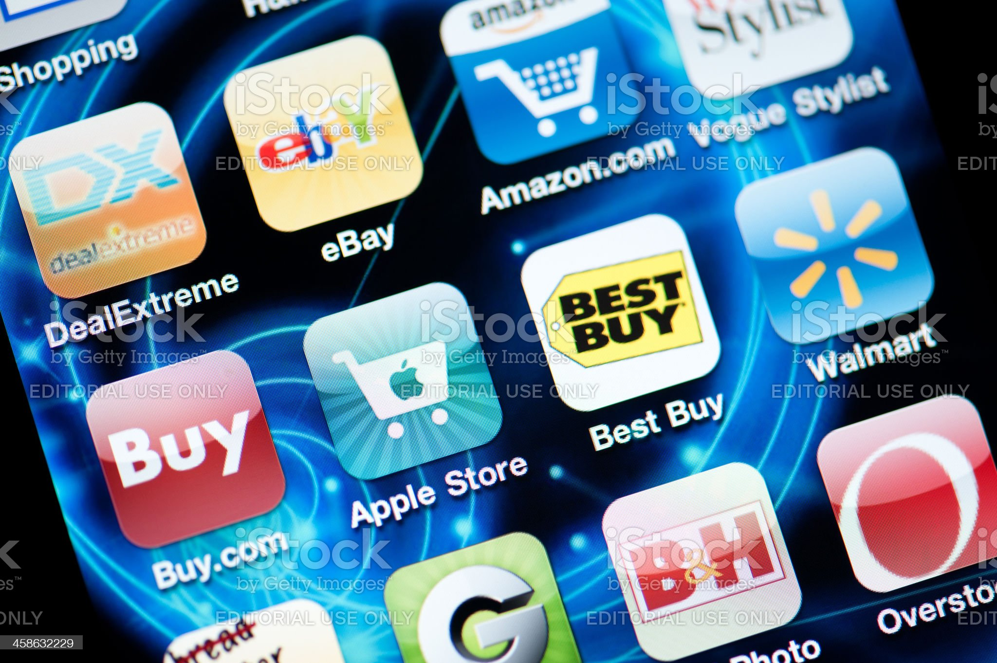 Shopping Applications on Iphone royalty-free stock photo
