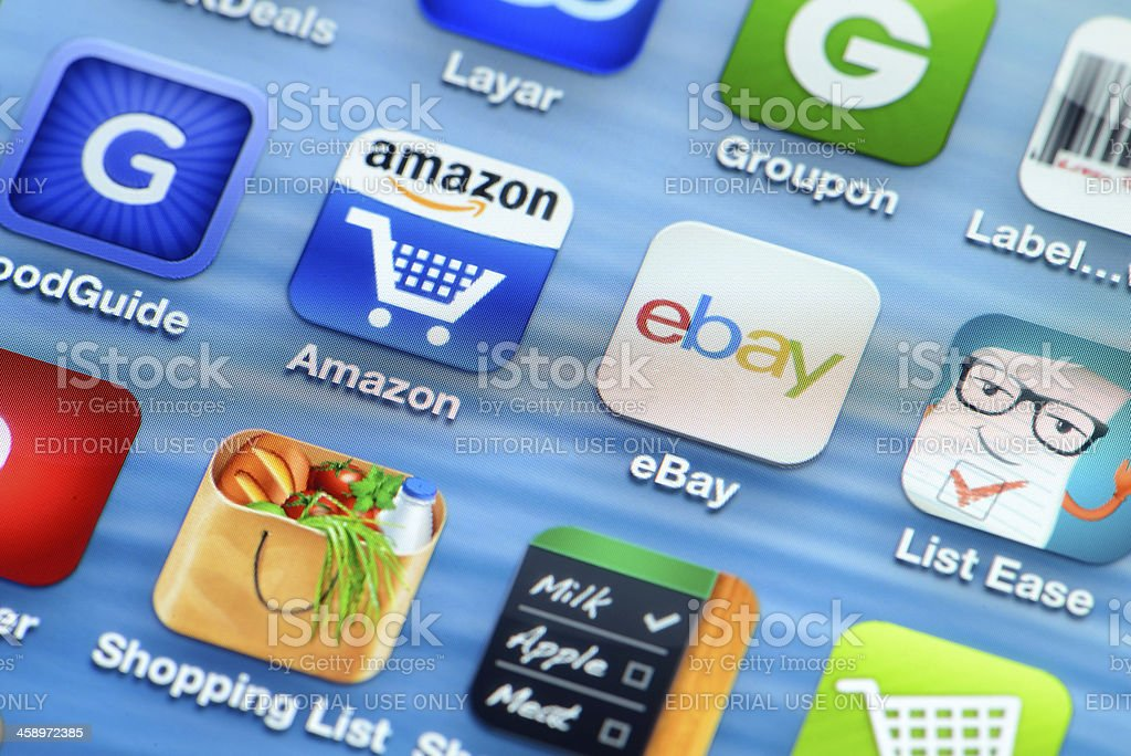 Shopping apps on iPhone stock photo