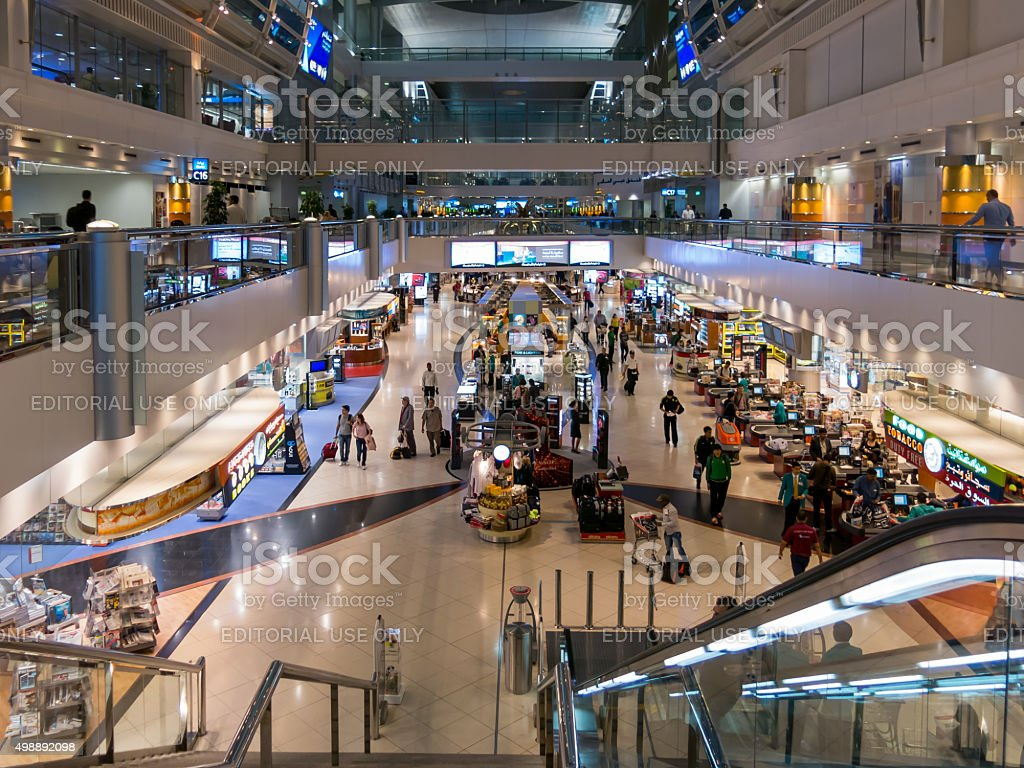 Shopping area in terminal of Dubai International Airport stock photo