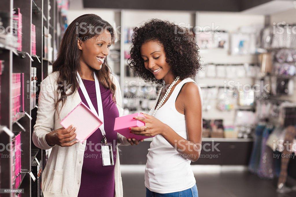 Shopping at beauty store. stock photo