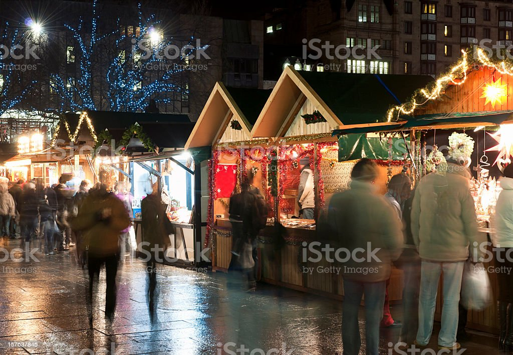 Shopping at Christmas Markets stock photo