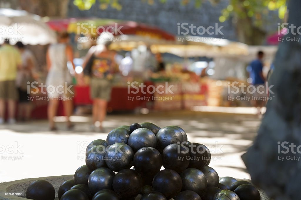 Shopping at French Village Market royalty-free stock photo