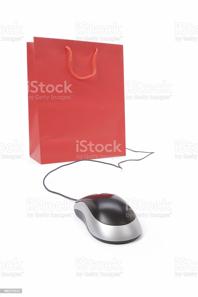 Shopping Bag and computer mouse royalty-free stock photo