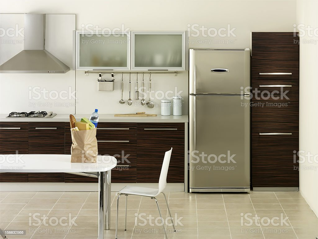 Shopping bag in a kitchen stock photo