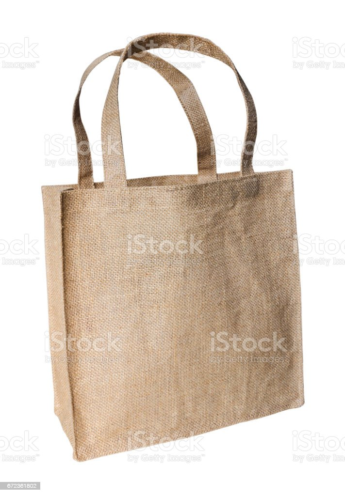 Shopping bag made out of sack with clipping path stock photo