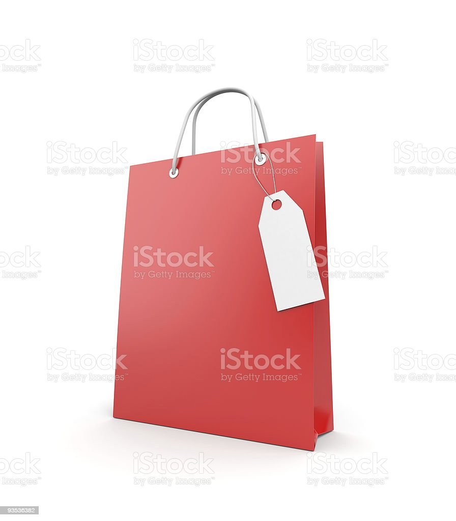 Shopping bag with label royalty-free stock vector art