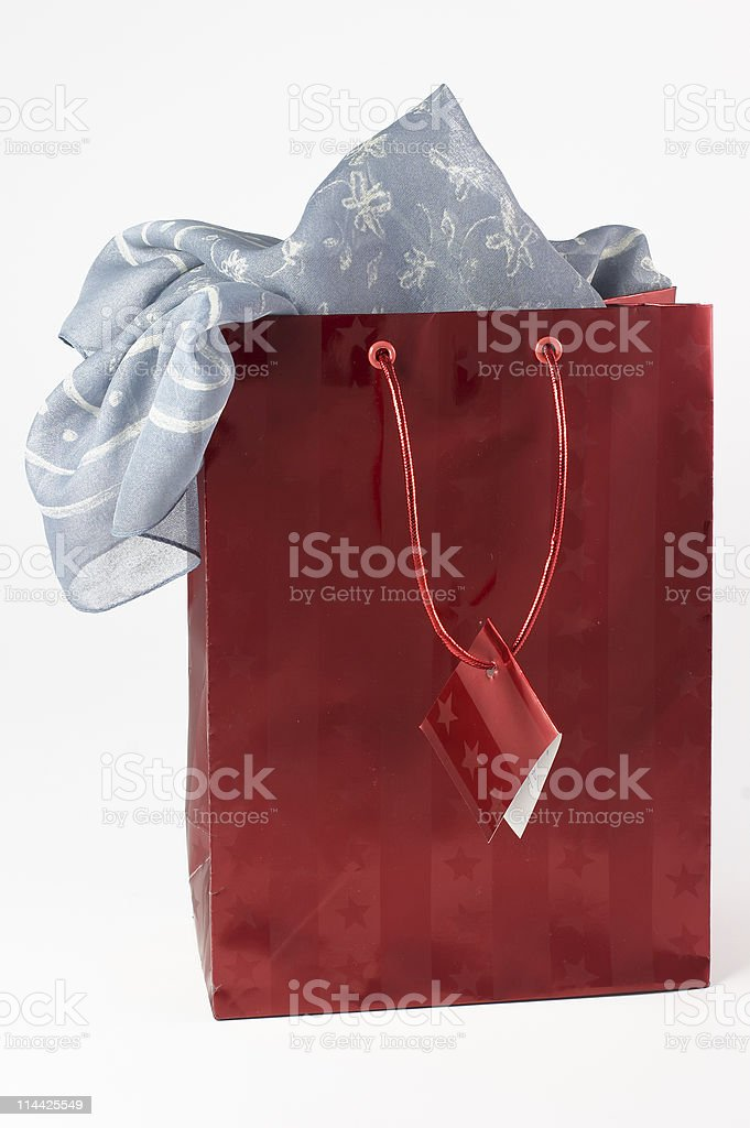 Shopping bag with scarf royalty-free stock photo