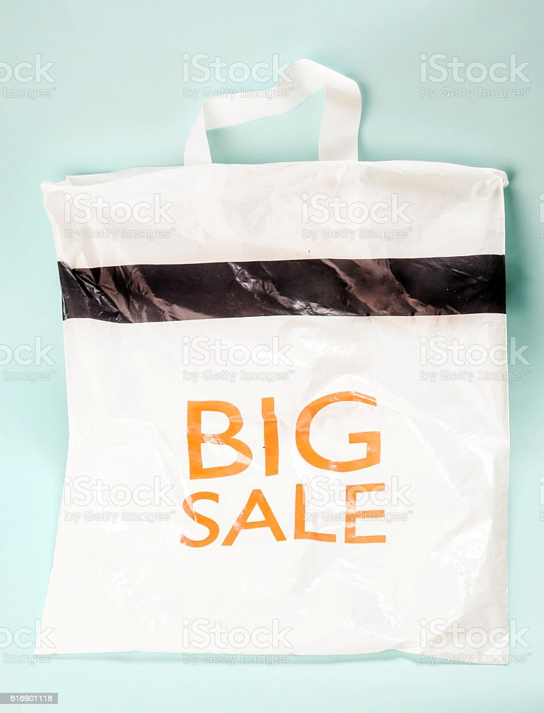 Shopping bag with the big sale written on stock photo