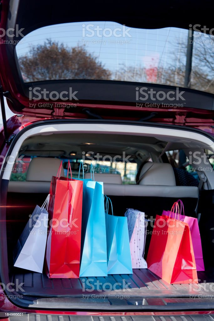 Shopping Bags in a Car stock photo