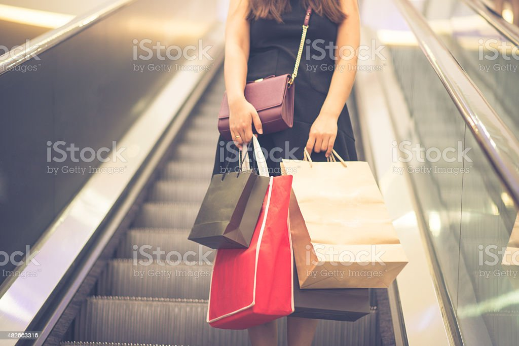 Shopping bags in the mall stock photo