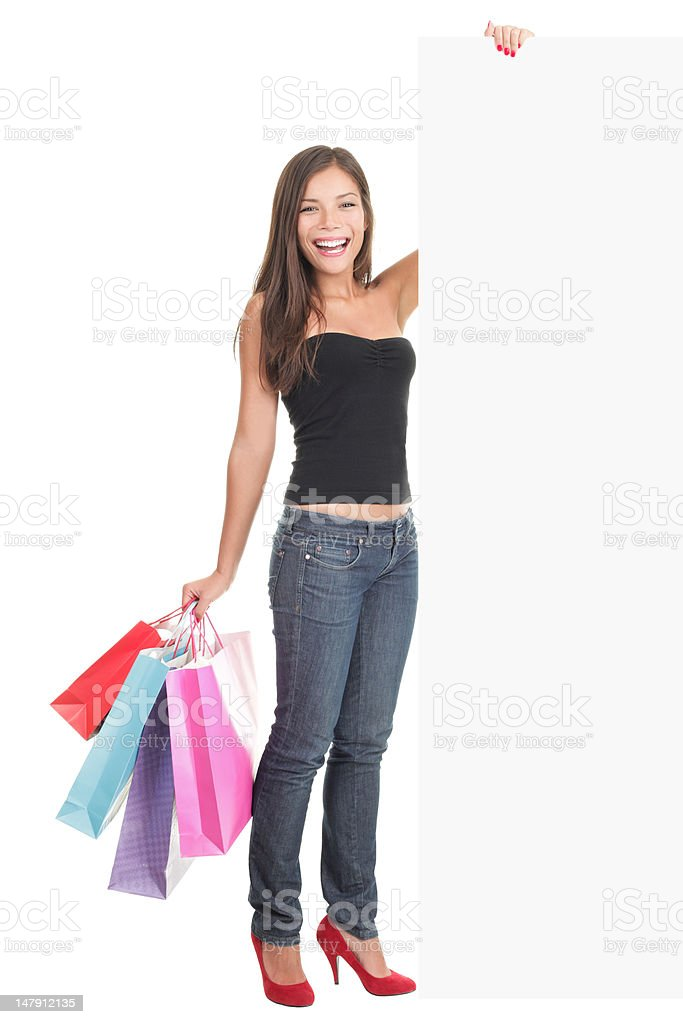 Shopping bags woman sign royalty-free stock photo