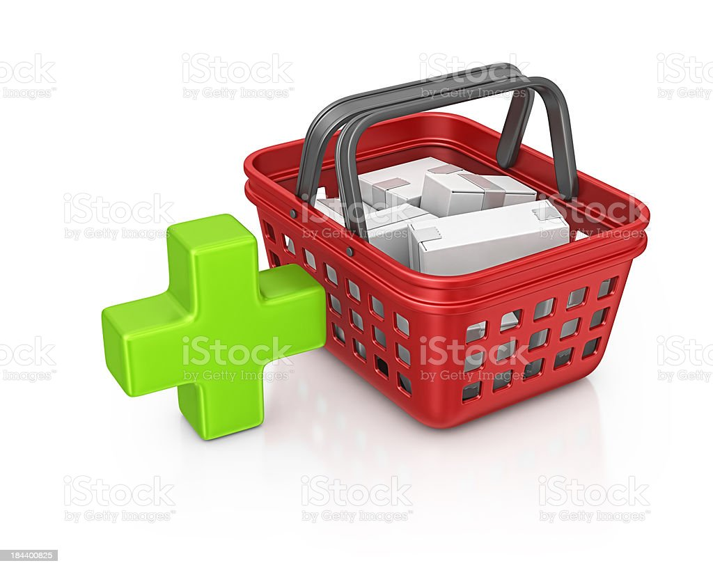 shopping basket and add sign royalty-free stock photo