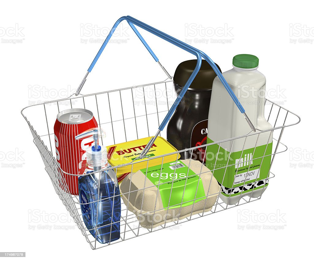 Shopping Basket Filled With Items royalty-free stock photo