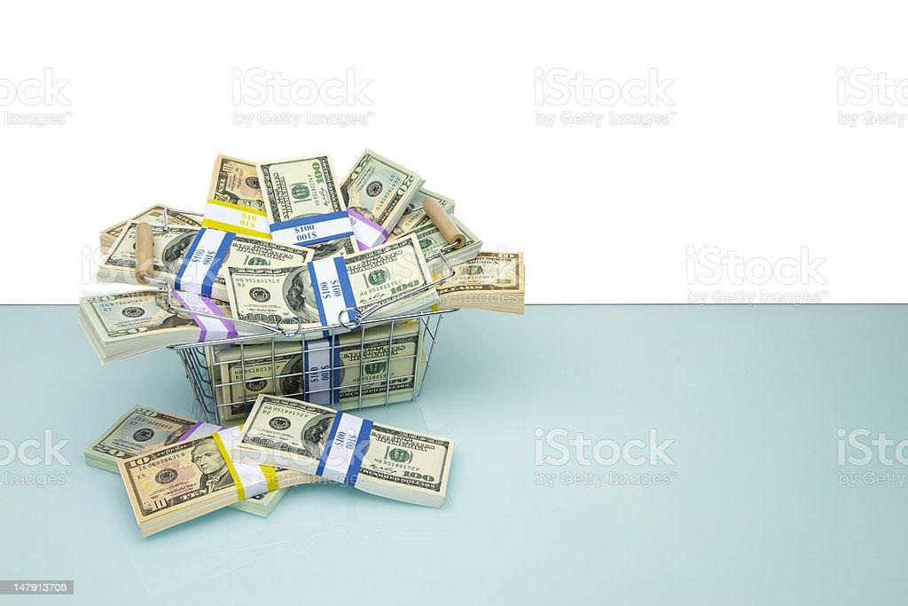 Shopping Basket full of Dollars royalty-free stock photo