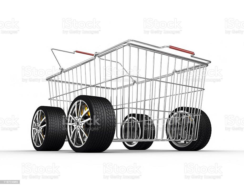 Shopping basket on wheels royalty-free stock photo