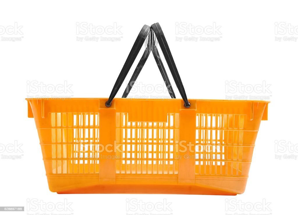 Shopping basket on white stock photo