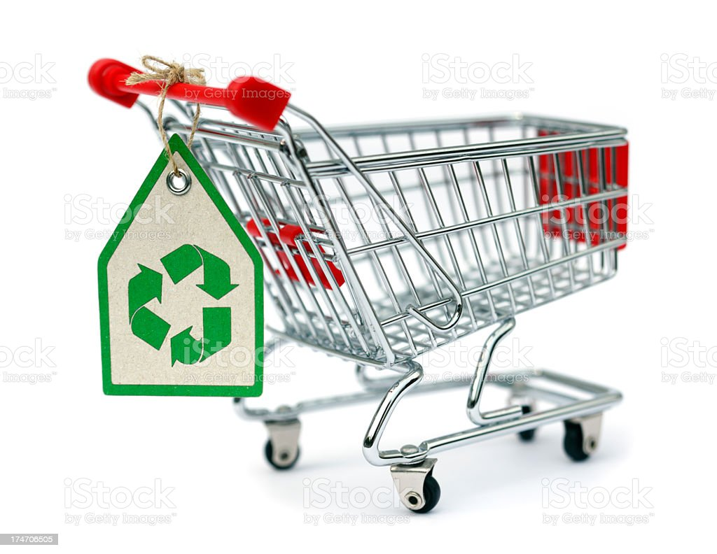 A shopping basket with an Eco recycling label attached royalty-free stock photo