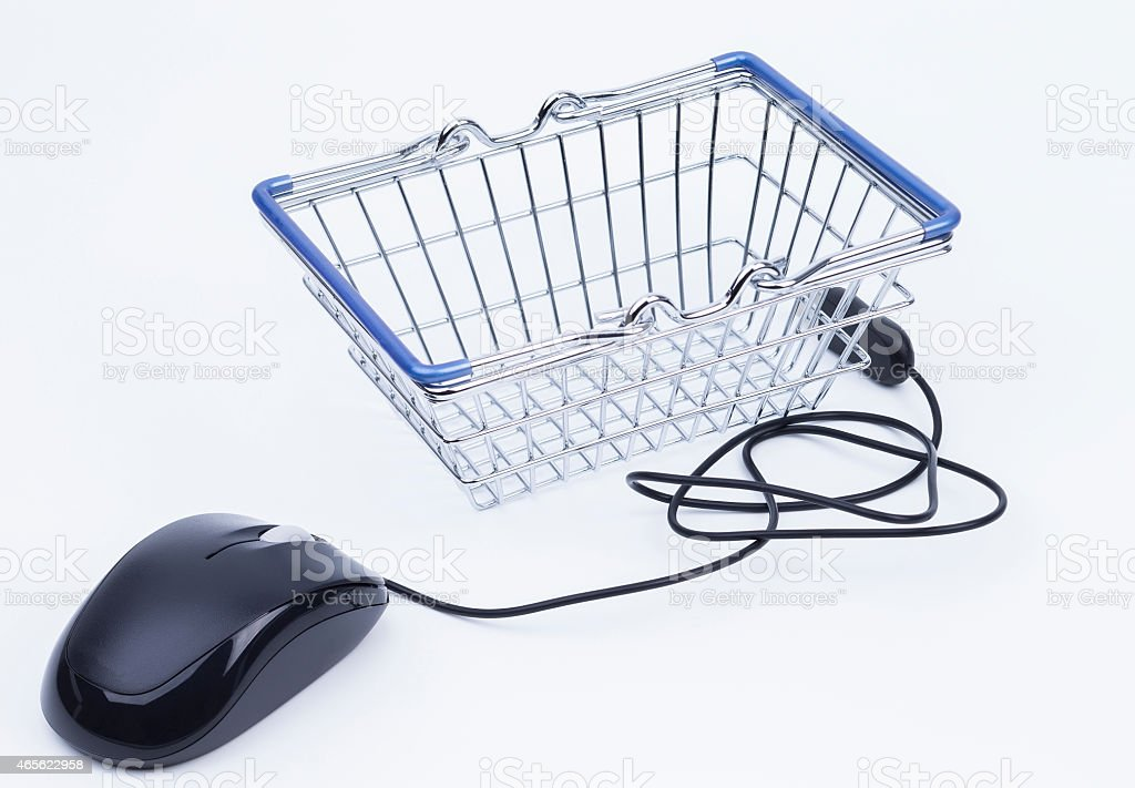 Shopping basket with mouse stock photo