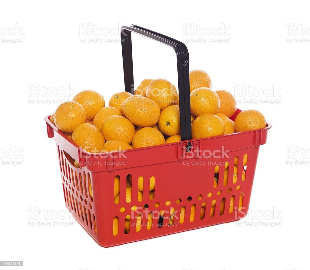 Shopping basket with oranges stock photo